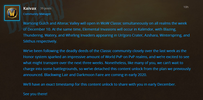 WoW Classic's Warsong Gulch and Alterac Valley will be opened in the week of December 10.png
